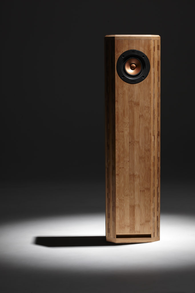 HiQ Mozart a tall shallow bamboo sculpture that also is a speaker :-)